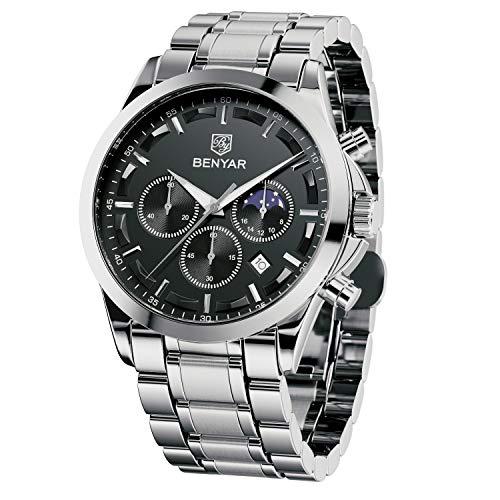 BENYAR Reloj de Pulsera Hombre | Reloj de Cuarzo analógico de Acero Inoxidable con cronógrafo | 30M Reloj Resistente al...
