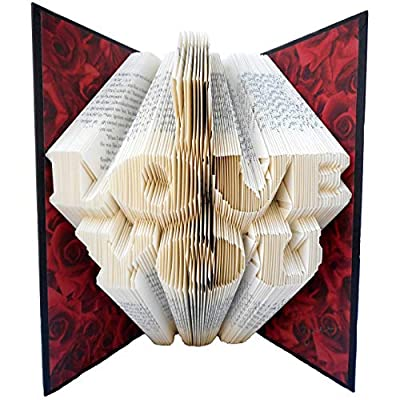 Hand Folded Book Art Sculpture, I LOVE YOU, for a Special Loved One, 1st Paper Anniversary Gift from