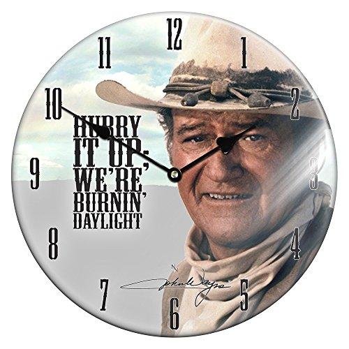 Onbekend edel glazen wandklok John Wayne 34cm Cowboy Western Indian klok