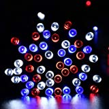 Solar String Lights, 200 LED 72ft July 4th Lights String, Outdoor String Lights, Independence Day Lights String 8 Modes Waterproof Outdoor Decor for Home Party Garden Patio Yard Holidday Lawn R/W/B