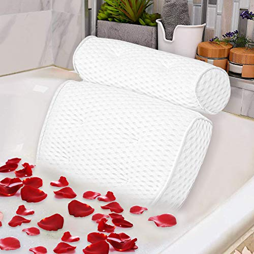 Bath Pillow Spa Bathtub Pillow with 4D Air Mesh Luxury Bath Pillow with 7 Powerful Suction Cups Head, Back, Shoulder and Neck Support for Hot tub, Jacuzzi and All Bathtub Maine
