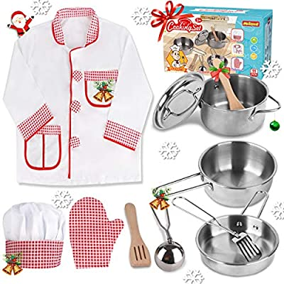 Meland Play Pots and Pans - Chef Costume for Kids Stainless Steel Pretend Cookware Set Play Kitchen Accessories for Toddlers 3 4 5 6 7 Years Old
