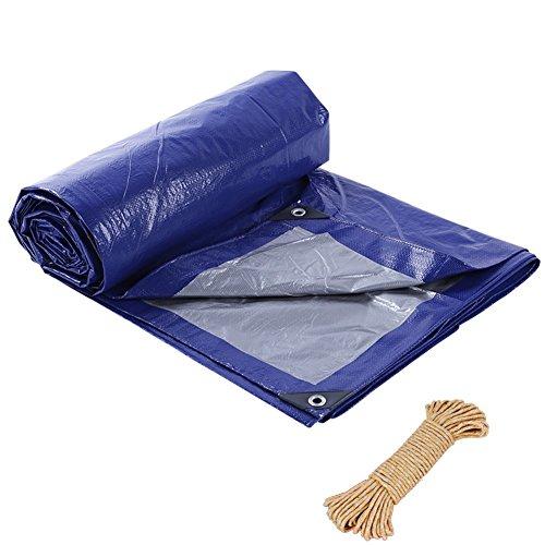 ZEMIN Bâche Protection Couverture Transparente Imperméable Crème Solaire Tente Drap Toit Tissu Poids Léger Tissé Polyester, Bleu, 105G / M², 16 Tailles Disponibles (Color : Blue, Size : 6X20M)