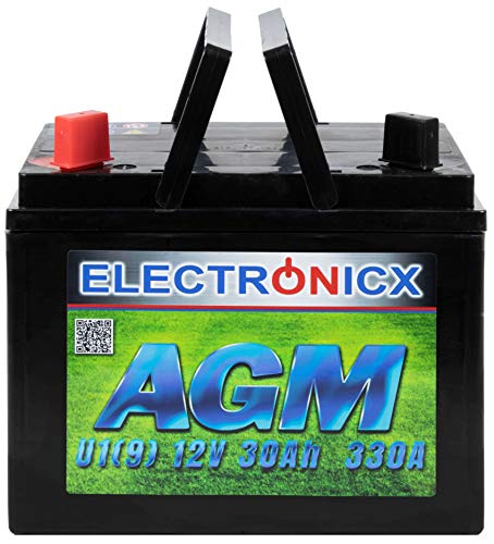 Electronicx AGM U1(9) 30AH 300A (EN) Batterie für Aufsitzrasenmäher, Gartengeräte, Starterbatterie, Wartungsfrei, Verschlossene AGM-Technologie