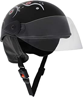 Sage Square Scooty Half Helmet for Men, Women (Medium, Black Glossy Sticker Design 1)