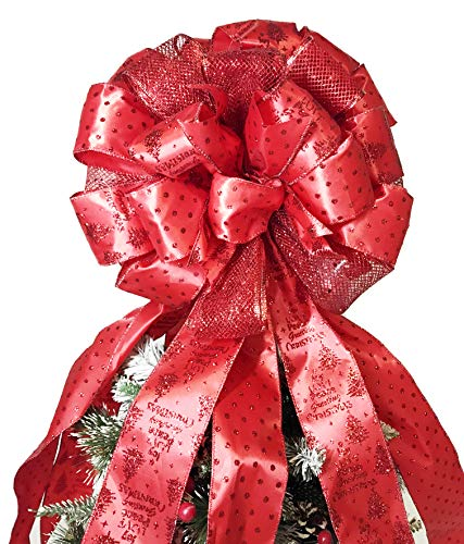 Flash World Christmas Tree Topper,27x12 Inches Large Toppers Bow with Streamer Wired Edge for Christmas Decoration (Large Red)