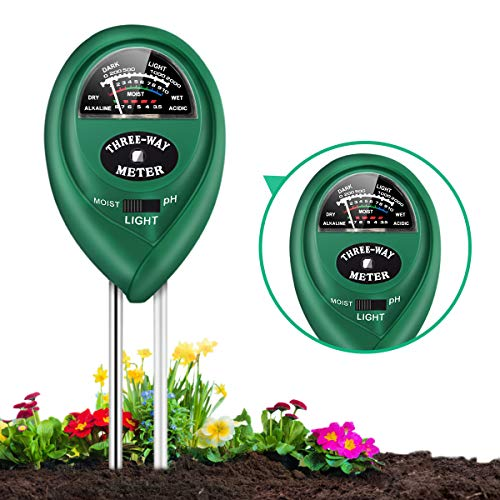 Soil pH Meter, 3-in-1 Soil Tester with Moisture, Light and PH Soil Test Kit for Garden, Farm, Lawn, Indoor & Outdoor, Soil Moisture Meter