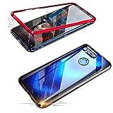 Alsoar Adsorción Magnética Funda Compatible con Huawei Nova 4 Estuche Vidrio Templado Transparente Trasera Cubierta Marco de Metal 360 Grados Protección Carcasa (Rojo)