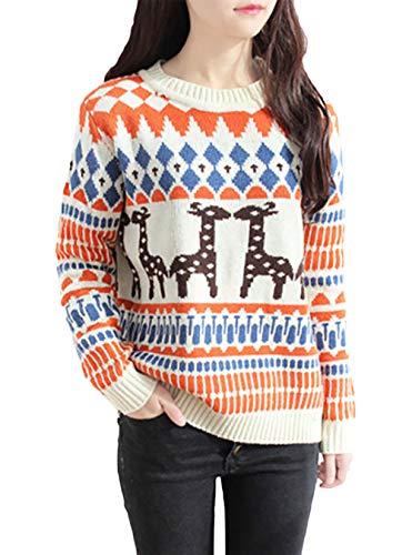HaiDean gebreide trui dames lange ronde mouw geometrische hals eenvoudige glamoureuze rendier gedrukt gebreide trui herfst winter mode vintage dikke warme trui truien