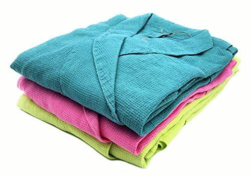Jowollina unisex badjas ochtendjas, katoenmix, linnenmix, turquoise-groen, L/XL