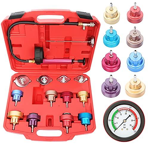 cciyu Radiator Pressure Leak Tester Vacuum Cooling Coolant System filler Kit Adapter Compression Storage Tools 14PCS Set Universal for Trucks, Cars, Motorcycle
