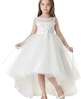 Long Wedding Pageant Dresses Tulle Party Gown Girls' White Princess Dress (Color : White, Size : 130cm)