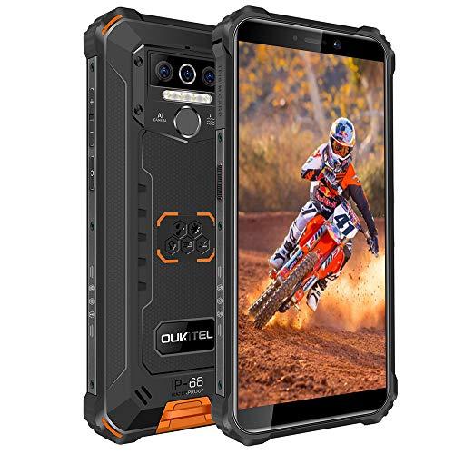 OUKITEL WP5 Pro IP68防水スマートフォン 8000mAh Android 10.0 4G アウトドアスマホ本体 SIMフリースマートフォン本体 4GB+64GB SONY13MP+5MP AIカメラ 携帯電話 LEDライト防災用品顔・指紋認証ロック解除 1年間保証 (オレンジ)