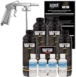Raptor U-POL GM White Urethane Spray-On Truck Bed Liner & Texture Coating W/Free Spray Gun, 4 Liters
