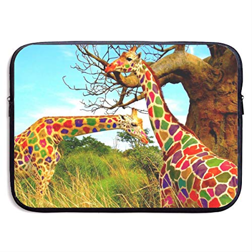 Gao808yuniqi Colored Giraffe Laptop Sleeve Shoulder Bag for Women, Protective Carrying Case Compatible with 13-15 Inch MacBook Pro, Air, Notebook,Slim Sleeve