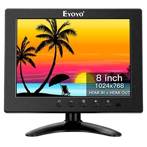 Eyoyo Monitor pequeño, monitor LCD de 8 pulgadas 1024x768 visualización pequeña de PC compatible con doble HDMI – 1 entrada HDMI y 1 salida HDMI, entrada AV BNC altavoz incorporado para computadora PC CCTV cámara de seguridad Raspberry pi