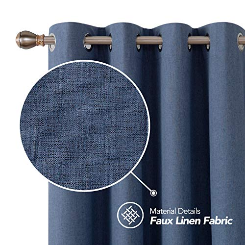 Deconovo Full Blackout Curtains 45 inch Long Faux Linen Grommet Top Curtains Noise Reducing Curtains for Boys Bedroom Blue 52W x 45L Inch 2 Panels
