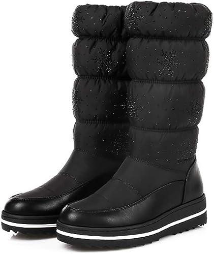 Oudan botas de Nieve para mujer Casual Mantener cálidas botas de Invierno zapatos de Felpa Gruesos de Cristal botas Altas Impermeables Antideslizantes, azul, 41 (Color   negro, tamaño   39)