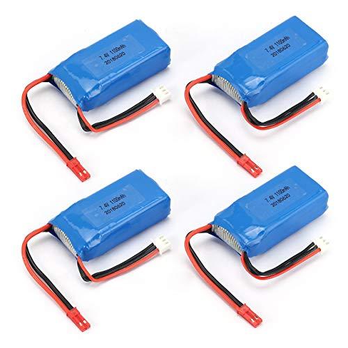 4PCS 7.4V 1100mAh 25C 2S Lipo Batería JST Plug Recargable para Wltoys...