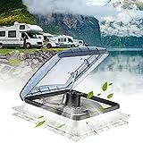 KOSIEJINN Ventilateurs pour Camping-Car 40 x 40 Cm Lucarne Caravane 12v Lanterneau Camping Car avec Toit Ouvrant Camping d'Admission Et d'Échappement à 3 Vitesses pour Caravanes Ou Camping-Cars