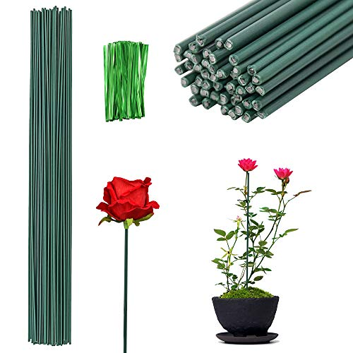 Lifreer 50PCS Plant Support Sticks 40cm Green Plant Support Sticks Canes Flowers Floral Plant Split Support and 100 Adjustable Plant Ties for Flowers Garden