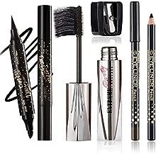 CCbeauty 4D Silk Fiber Eyelash Mascara with Liquid Eyeliner and Eyebrow Pencil with Pencil Sharpener Set, Thrive Mascara Liquid Lash Extensions Eye Makeup Set, Lengthening, Thickening, Long Lasting