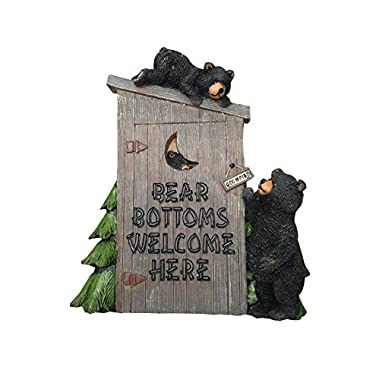 Poly Resin Decorative Wall Plaque  Bear Bottoms Welcome  for That Country Garden Home
