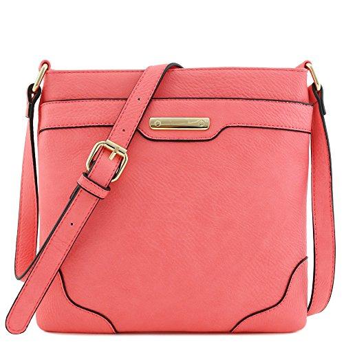 Umhängetasche, mittelgroß, solide, modern, klassisch, vergoldet., Pink (rose), Einheitsgröße