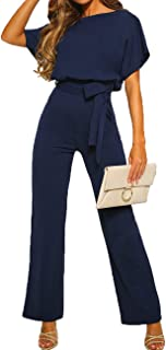 ALAIX Women's Casual Short Sleeve Jumpsuit Loose Wide Leg Long Pants Rompers with Waistband