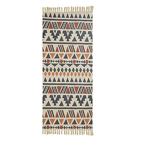Poowe Geflochtener kreativer Teppich aus Baumwolle, waschbar, dekorativ, handgewebter Quasten-Teppich (60 x 180 cm, bunte Formen)