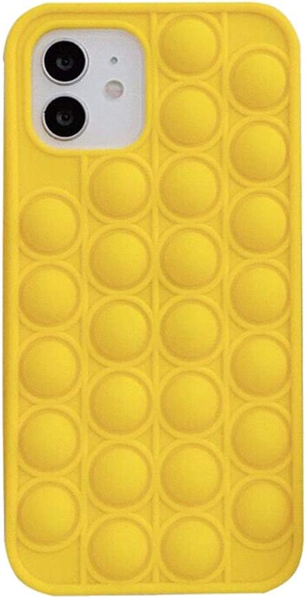 Fidget Toys Phone Case, Clysburtuony Soft Silicone Push Pop Bubble Protecive Cover for iPhone 6/6Plus/7/8/7Plus/8Plus/XS/XR/XS MAX/11/11Pro/11Pro MAX/12/12Pro/12Pro MAX (Yellow, iPhone 6)