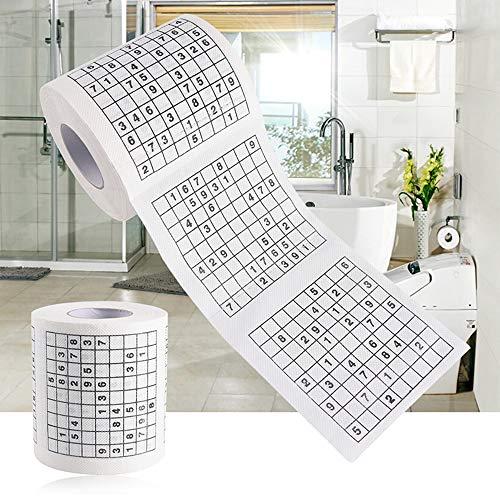 HONGSHAN Sudoku Toiletpapier Roll Weefsel Papier, Nieuwigheid Grappig Nummer Sudoku Gedrukt Zacht Toiletpapier Weefsel Badkamerbenodigdheden, Duurzame Grappige Praktische Gereedschappen voor het Leven