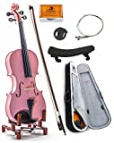 SKY 4/4 Full Size SKYVN201 Maple Wood Pink Student Violin with Lightweight Case, Brazilwood Bow, Rosin Cake, Shoulder Rest, String, Rosin and Mute