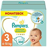 Pampers Baby Windeln Größe 3 (6-10kg) Premium Protection, 204 Stück, MONATSBOX, Pampers Weichster Komfort Und Schutz