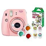 Câmera Instantânea Instax Mini 9 com 3 Filtros Coloridos + Pack 10 Fotos + 4 Clips Magnéticos Coloridos para Fixar Fotos, Fujifilm, Rosa Chicle