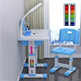 oufenli Kids Desk and Chair Set Adjustable Combined Study Table and Chair Set Student Writing Desk with Drawer/Lamp (Blue, 80x49cm)