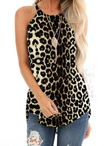 Famulily Halter Tops Sleeveless Summer Leopard Print Tank Tops High Neck Casual Cami Tops Tee(Leopard Print,S)