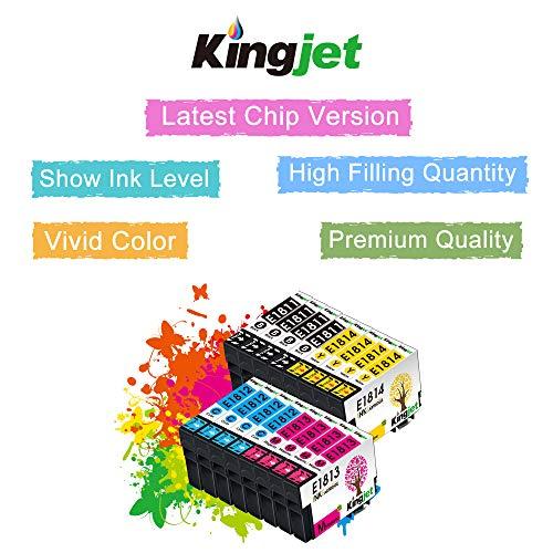 Kingjet Compatible con 18 18XL Cartuchos de Tinta reemplaz para Epson 18 XL para Epson Expression Home XP-215 XP-225 XP-302 XP-305 XP-312 XP-315 XP-322 XP-405 XP-412 XP-422 XP-425 Paquete de 16