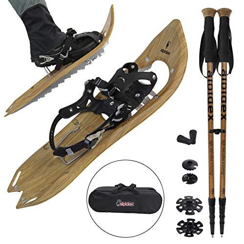 ALPIDEX Schneeschuhe Holzoptik Vintage Steighilfe Tragetasche Schuhgröße 38 bis 45 Optional Carbon Stöcke, Farbe:Brown Timber - mit Stöcke