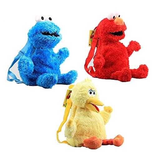3Pcs Barrio Sésamo Mochila De Felpa Red Elmo Blue Cookie Guy Yellow Big Bird Plush Bag 45Cm, Juguetes Blandos Peluches De Peluche Mochila Escolar para Niños Regalo