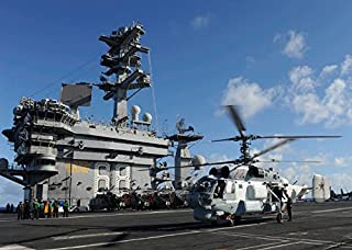 Posterazzi GLP469052LARGE Poster Print Collection A Russian Navy Ka-27 Helix Helicopter Lands Aboard Uses Nimitz Poster Print By Stock trek Images, (34 X 22