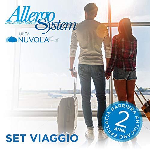 Allergosystem Set Antiacaro da Viaggio Nuvola coprimaterasso, 170x200x20 e copricuscino, 50x80, 100% Polipropilene, 170x200x20cm