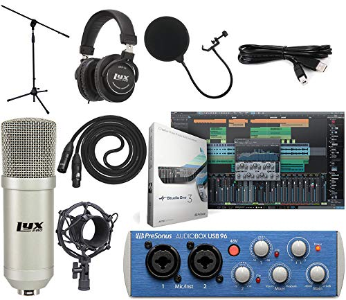 Presonus AudioBox 96 USB 2.0 Audio Interface Studio Bundle with Studio One Artist Software Pack (Interface Color May Vary in Blue or Black)