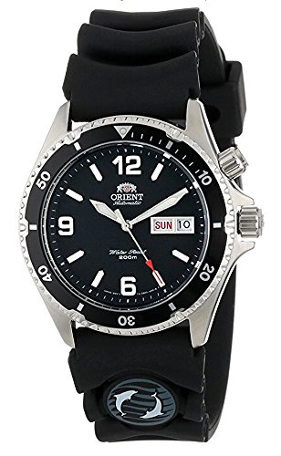 Orient Mako Black Dial Automatic Dive Watch with Rubber Dive Strap EM65004B