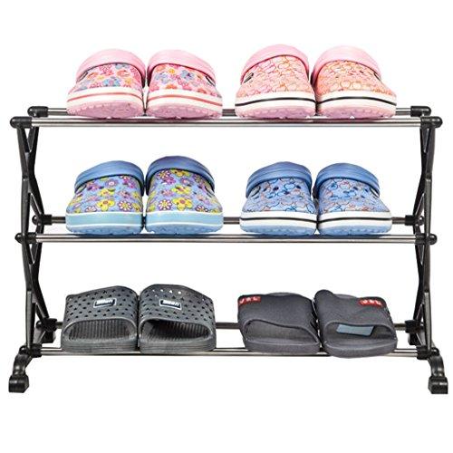 ZZYE Zapatero Bastidores de Zapatos 3 Niveles Almacenamiento de plástico Muebles de Muebles Organizador de Zapatos Estantes 6 Pares 56 * 26 * 35 cm Perchero Zapatero (Size : Black)