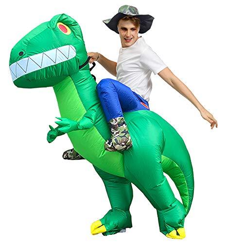 EXIGENT Flamingo Alien Pig Giraffe Dinosaur Shark TRex Inflatable Costume Cosplay Adult Child Kids Halloween Summer Christmas (Adult_Dino)