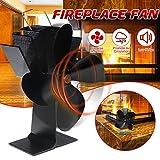 CIVIKY Ventilador de estufa de 4 aspas, ventilador de quemador de chimenea ecológico alimentado por calor para estufas de gas/pellets/leña-Negro