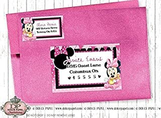 10 BABY MINNIE MOUSE Black and Pink Birthday Party RETURN & GUEST Address Labels for your Invitation Envelopes
