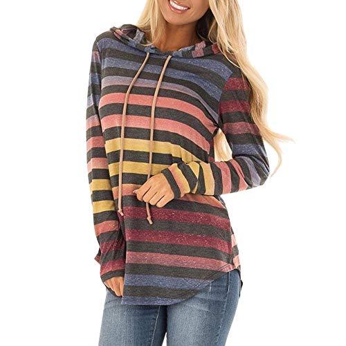 Zarupeng Damen Gestreiftes Langarm Hoodie Sweatshirt mit Kapuze Pullover Tops Dünne Lange Bluse Strickjacken Oberseiten