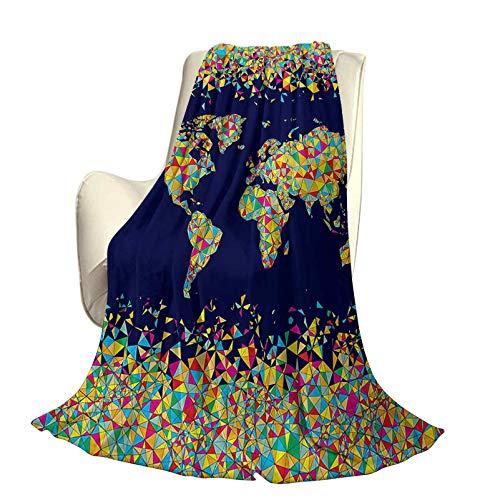 SUZM Wanderlust Microfiber Plush Polyester Blanket World Map Organized by Layers Mosaics Global Vibrant Colors Festive High-end Lightweight Anti-Static Blanket W57 x L74 Inch Dark Blue Yellow Blue